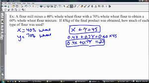 solving a linear system of equations with percents word problem