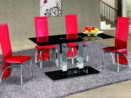 black gl chrome dining table and 4 chairs set