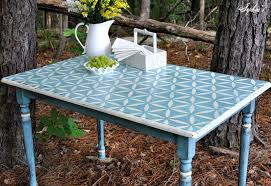 full size of sky blue painted wooden outdoor table design idea white stenciled old oak table