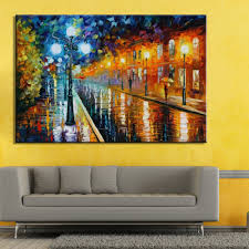 Oil Paintings For Living Room Hand Painted Colorful Oil Painting On Canvas Street After The Rain
