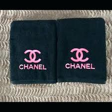 embroidered bath towels chanel bathroom