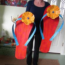 flip flop art pool side giant pair