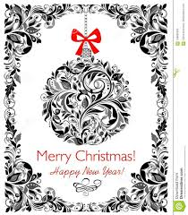 Decorative Floral Black And White Greeting Christmas Card With