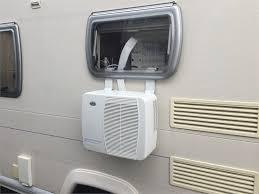 car window air conditioner. bailey ranger caravan. air con shown fixed on side window car conditioner e