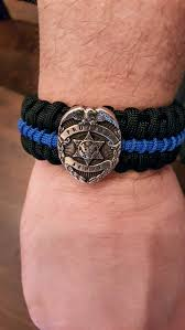 thin blue line medallion edition paracord survival bracelet to enlarge to enlarge
