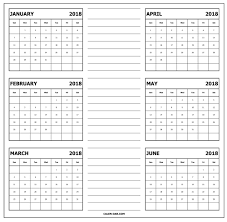 write in calendar 2018 download calendar 2018 january to june free blank template