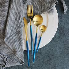 304 Stainless Steel Luxury Gold Cutlery Sets Dinnerware Set Vintage 24  Pieces Dinner Knives Forks Scoop