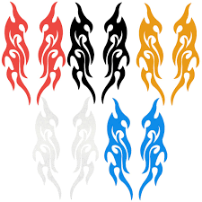 Pair 31 5 x 8 7cm universal car trunk fire flame vinyl decor decal sticker for body