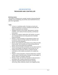 Treasurer and Controller Job Description. Secretary Treasurer Resume .