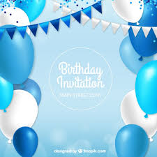 Party Invitation Background Image Birthday Invitation With Blue Balloons Vector Free Download