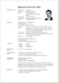 Europass Cv English Example Download Format Of Resume Template