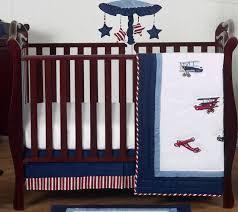 sweet jojo red blue white airplane perless 4pc baby boys crib bedding set