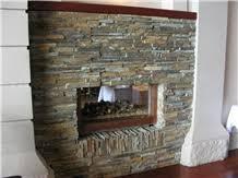 Stacked Stone Veneer Fireplace