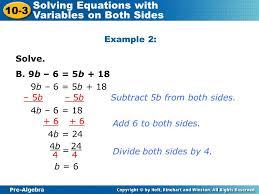 pre algebra 10 3 solving equations with variables on both sides solve
