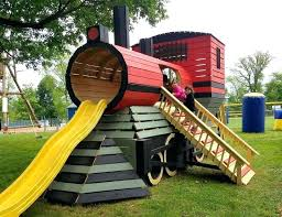 playground diy kids climbing into wooden train playhouse diy playground set  plans . playground diy ...