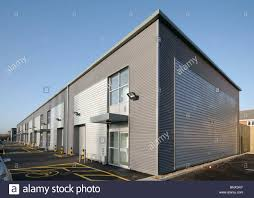 Small Industrial Building Design New Build Small Business Industrial Units Stock Photo