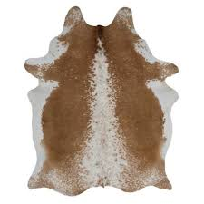 leather hide rug brown white 1
