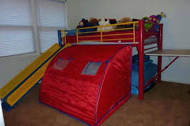 bunk bed with slide and tent. Twin Bed With Slide And Tent Loft Ladder Desk Mattress . Bunk