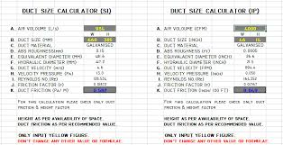 Duct Sizing Chart Cfm Hvac Duct Size Calculator Excel Free Ductulator