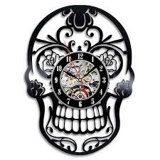 Skull Bedroom Decorative Skull Bedroom Wall Clock Made With Vinyl Record