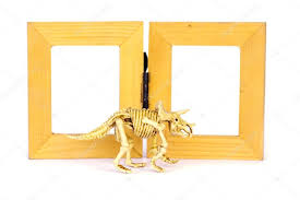 dinosaur skeleton model on wood frame isolated on white stock stock image