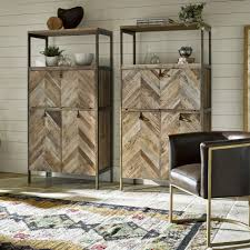 Langston Metal Rustic Elm Wood Parquet Bar Cabinet