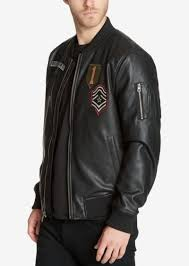 guess men s faux leather varsity style jacket