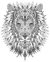 Coloriage Adulte Lion L L L L L L