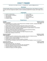 Pipefitter Resume Samples Free Excel Templates