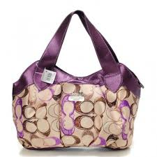Coach Legacy Logo In Signature Medium Purple Hobo BPO