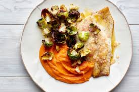 barramundi fillets with roasted sweet potatoes and brussels sprout chips recipe epicurious