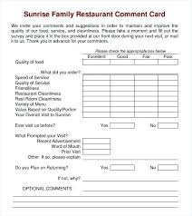 Survey Cards Templates Testimonial Submissions Customer Comment Card Template For