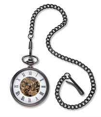 gunmetal gray exposed gears pocket watch chain