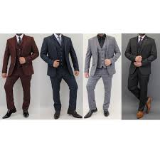 Slim Fit Suits Designer Details About Mens Check 3 Piece Suit Cavani Designer Tweed Blazers Slim Fit Waistcoat Trouser