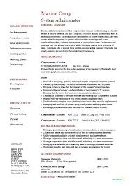 Systems Administrator Resume Free Resume Templates 2018
