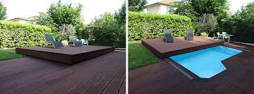 Contemporist This Raised Wooden Deck In The Backyard Is Actually A Pool Cover