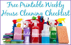 Weekly House Cleaning Chart Printable Weekly Checklist For House Cleaning And Other