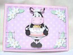 3d Milly Moo Cows Birthday Cake Animated Moveable Decoupage Photo