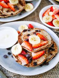 these vegan chocolate chip banana pancakes are made gluten free with buckwheat flour and only