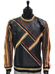 steven land mens genuine leather black multi color striped crew neck sweater