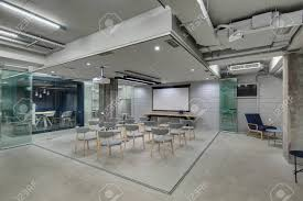 loft style office. Zone For Presentations In Office A Loft Style With Brick Walls And Concrete Columns. C