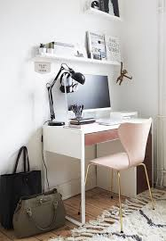ikea micke desk in small workspace white walls room pink feminine shelf