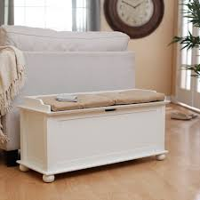simple white storage bench with seat cushions for minimalist bedroom best space saving furniture