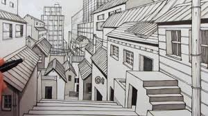 perspective drawings of buildings. One Point Perspective Drawing Buildings How To Draw A City Using 1 Perspective: Narrated Drawings Of