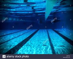 underwater view of two swimmers peting in adjacent lanes from far length of olympic size 25 meter swimming pool