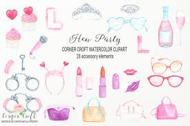 Wedding Shower Clip Art Watercolor Hen Party Clipart Bridal Shower Clipart By