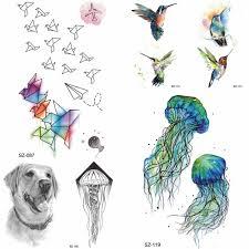 Yuran акварельные птицы временные татуировки наклейки детские руки