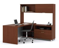 corner office desk hutch. L-Shaped Desk With Hutch Home Office : Modern Furniture Of Brown Wooden Corner S