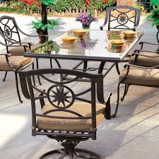 Darlee ten star 7 piece cast aluminum patio dining set with glass top table bbq guys