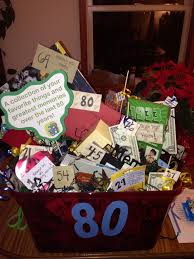 80th birthday basket for my grandpa filled with his favorite things and some fun memories over the last 80 years candy coffee lotto tickets popcorn